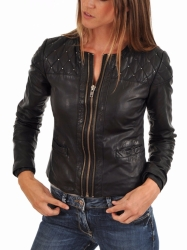 Ladies Studded Leather Jacket