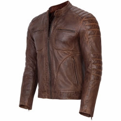 Men's Biker Brown Distressed Leather Jacket