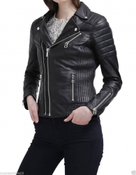 Ladies Biker Zipper Leather Jacket