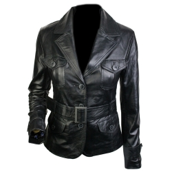 Ladies Button Coat Style Leather Jacket