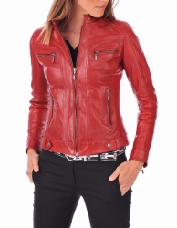 Ladies Slim Fit Zipper Leather Jacket