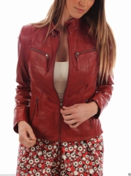 Ladies Slim Fit Biker Leather Jacket Red
